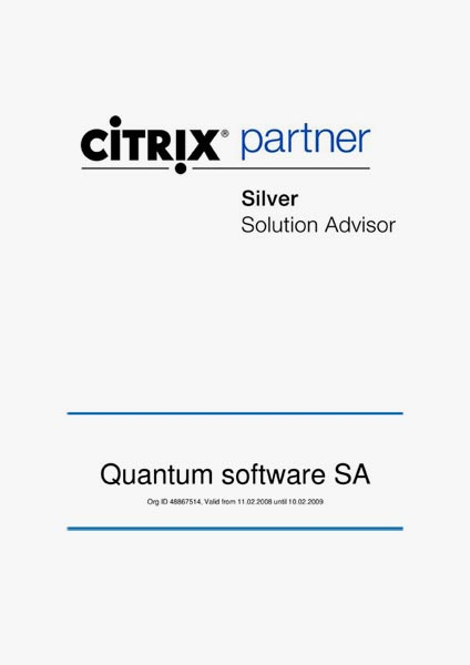 Certyfikat CITRIX PARTNER