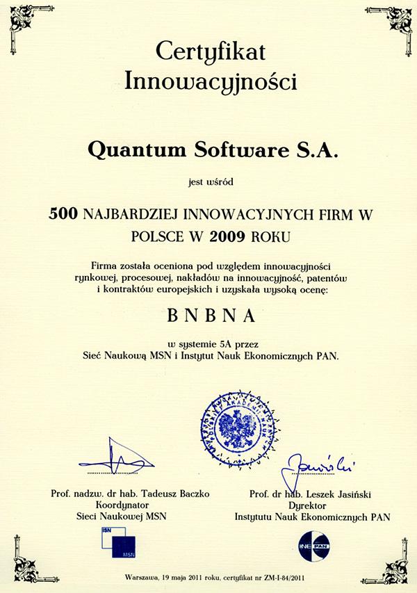 Certyfikat Innowacyjnosci 2009