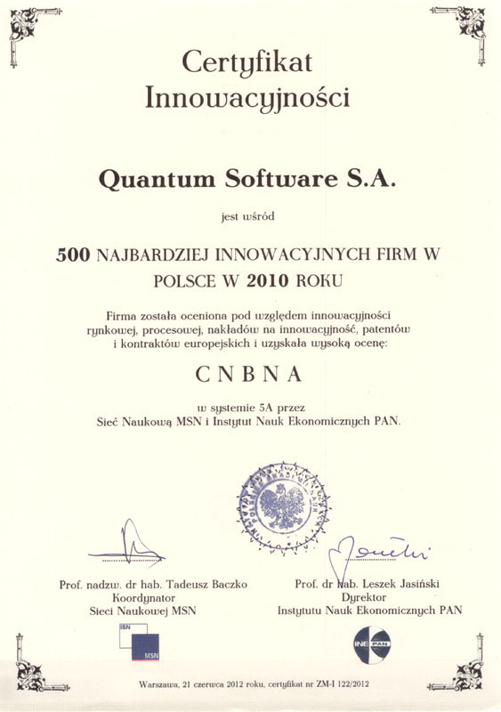 Certyfikat Innowacyjności 2010