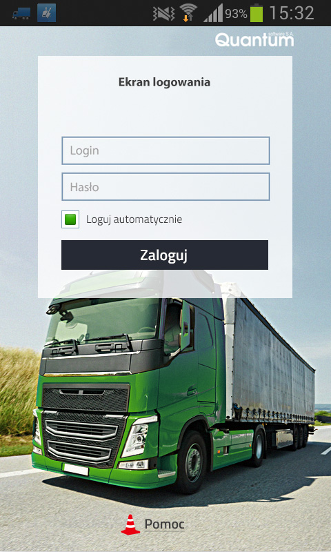 Qguar TMS mobile – ekran logowania