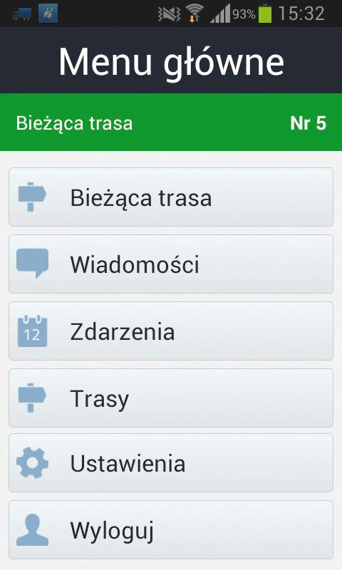 Qguar TMS mobile – menu glówne